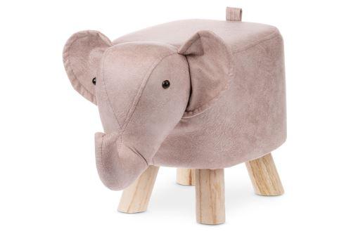 Taburet - slon, potah starorůžová látka v dekoru vintage kůže, masivní nohy z kaučukovníku v přírodním  odstínu, LA2010