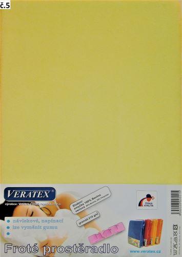VERATEX Froté prostěradlo jednolůžko 90x200/16cm (č. 5-sv.žlutá)