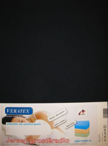 VERATEX Jersey prostěradlo 180x200/15 cm (č.35-černá)