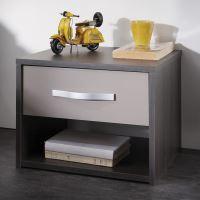 Noční stolek GRAPHIC tmavý dub/šedá IDEA nábytek