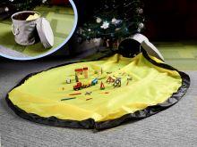 Organizér na hračky, bloky s hrací podložkou 2 v 1, šedý a žlutý