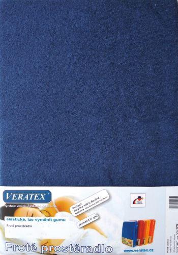 VERATEX Froté prostěradlo dvoulůžko 180x200/16cm (č.24-nám.modrá)
