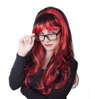 Paruka pro dospělé červenočerná čarodějnice/Halloween (8590687214484)
