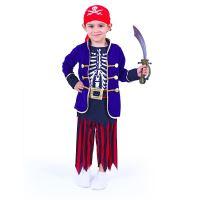 Dětský kostým pirát modrý s šátkem (S) (8590687198579)