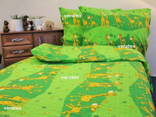 VERATEX Krepové povlečení LUX 70x90-140x200 zelené žirafky