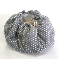 Aesthetic Hnízdo pro miminka 3v1, stahovací vak na hračky, Hrací kruhová podložka  plátno/plátno (hvězda bílá/šedá)