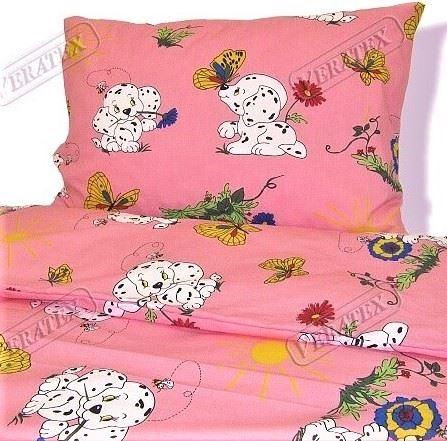 VERATEX Dětské povlečení krep LUX 45x64 90x130 růžový dalmatin