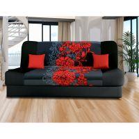 Pohovka VICTORIA červené květy IDEA nábytek