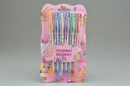 Gelová tetovací pera 6ks včetně šablon - Mix barev - 8590331308125