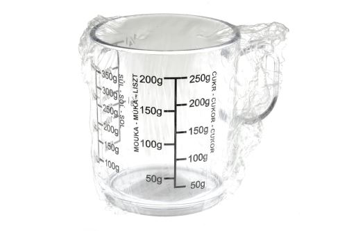 Plastová odměrka, hrníček TVAR 250ml - Čirá - 8590394011604