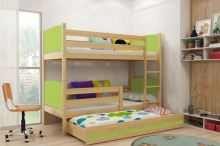 FALCO Patrová postel s přistýlkou Tamita borovice/zelená - 0317020610
