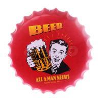 Obraz plechový 40 cm víčko - Beer, All a man needs (8595573180416)
