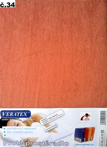 VERATEX Froté prostěradlo  90x210 cm (č.34-sv.rezavá)
