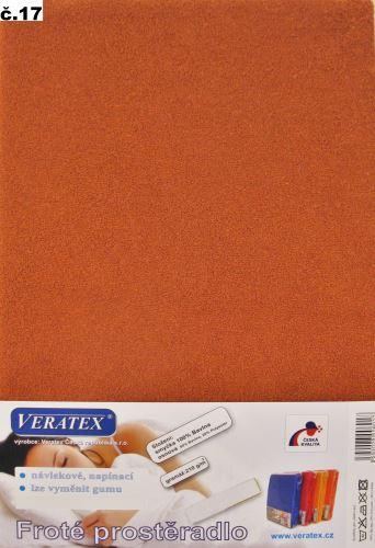 VERATEX Froté prostěradlo jednolůžko 90x200/20cm (č.17-rezavá)