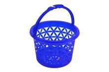 Plastový kulatý košík vzor květin 2,9l (20x14cm) - Tmavě modrý - 8696287052027