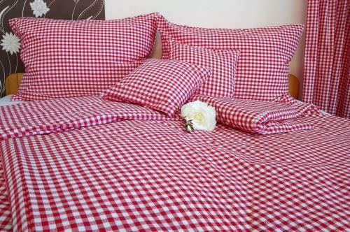 VERATEX Bavlněné povlečení francie LUX 2x70x90 + 240x200 cm kanafas červené srdíčko