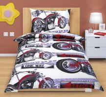 VERATEX Povlečení bavlněné Junior 70x90-140x200 motorka - dětský motiv