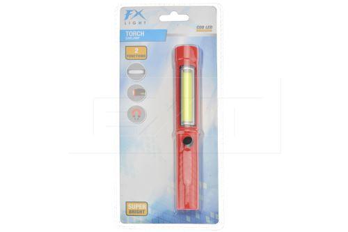 Kapesní svítilna s COB LED FX (16.5cm) - Červená - 8719987283246