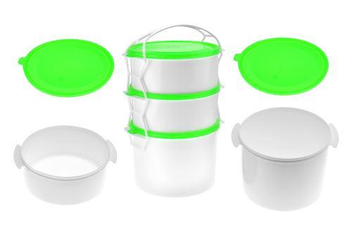 Plastový jídlonosič 3 dílný 2x1,1l + 1x2l