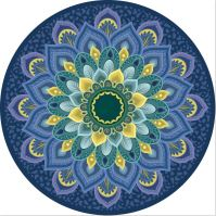 Podložka na jógu kulatá mandala BLUE FLOWER 70cm