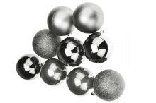 Vánoční koule na stromeček FLORA (6cm) 9ks - Stříbrné - 8585044123677
