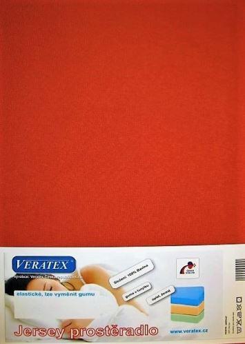 VERATEX Jersey prostěradlo  jednolůžko 90x200/15cm (č.17-rezavá)