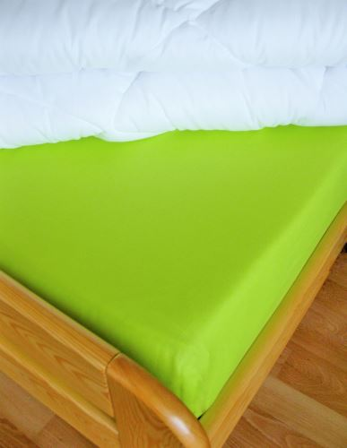 VERATEX Bavlněné prostěradlo 2Lůžko s gumou 180x200/do výšky matrace 15 cm (žlutozelená)
