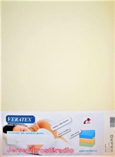 VERATEX Jersey prostěradlo 90x220 cm (č. 2-smetanová)