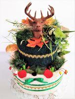 VERATEX Veratex Textilní dort myslivecký dvoupatrový z ručníku a osušky s jelenem