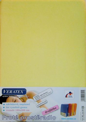 VERATEX Froté prostěradlo 160x220 cm (č. 5-sv.žlutá)