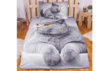 3D povlečení 140x200 + 70x90 - Grey cat - 8592753021392