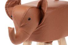 Taburet - slon, potah skořicově hnědá látka v dekoru kůže, masivní nohy z kaučukovníku v přírodním odstínu, LA2012