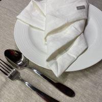 Aesthetic Lněný jídelní ubrousek - 100% len White Milk