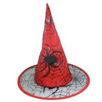 Klobouk čarodějnice červený pro dospělé (8590687018457)