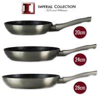 Imperial Collection IM-FFMT: Sada 3 kusů pánví potažené mramorem (20 cm, 24 cm, 28 cm) šedá