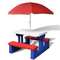 Zahradní piknikový stůl pro děti s deštníkem a modro-červené lavičky