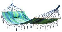DIMENZA prostorná zahradní houpací látková síť MAXI pro dvě osoby snosností až200kg. Barva: modrá s pruhy - DF-003298