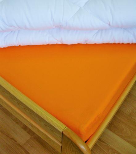VERATEX Bavlněné prostěradlo 2Lůžko s gumou 180x200/do výšky matrace 15 cm (oranžová)