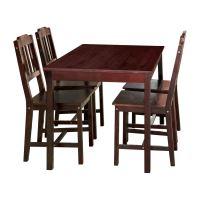 Stůl + 4 židle 8849 tmavohnědý lak IDEA nábytek