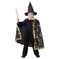 Dětský kostým kouzelnický plášť černý (8590687000902)
