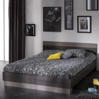 Dvoulůžko 160x200 GRAPHIC tmavý dub/šedá IDEA nábytek