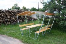 zahradní zastřešená lavička LANITPLAST TULIP 2 / bronz PC 8 mm