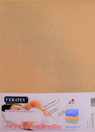 VERATEX Jersey prostěradlo postýlka 70x160 cm (č.31-sv.hnědá)