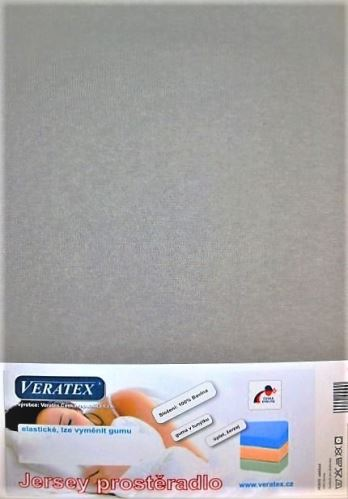 VERATEX Jersey prostěradlo jednolůžko 90x200/25 cm (č. 4-šedá)