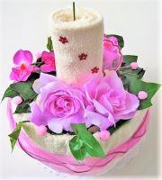 VERATEX Veratex Textilní dort svícen smetanovo fialkový 2x ručník