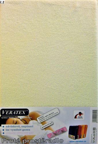 VERATEX Froté prostěradlo jednolůžko 90x200/16cm (č. 2-smetanová)